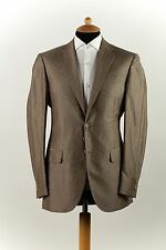 New 1300$ CORNELIANI Wool + Silk + Linen Light Brown 2Btn Suit 36 US - 46 EU 7 R