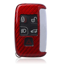 Red Real Carbon Fiber Keychain Key Fob Cover Case for Land Rover Jaguar XE XF