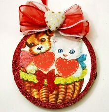 Hand Made Puppy & Cat With Valentines glittered wood slice Valentine Ornament