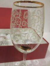 COLLECTION Crystal Wine Large Goblets/set of 4/ Clear with Etching