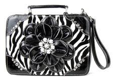 Black Zebra Flower Fashion Bible Cover Purse Handbag