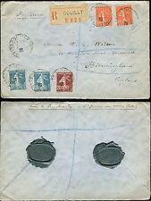 Francia 1925 registrado couilly 5 Sellos + Azul Verde Fm Sellos Para Distribuidor de sello