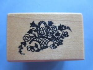 PSX rubber stamp dainty basket of flowers  retired