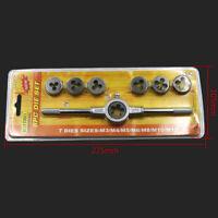 8 PCS Metric Tap & Die Wrench Set M3-M12 Screw Thread Taper Hand Tool Kit