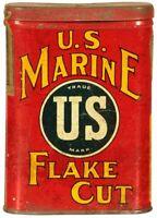 U.S. MARINE FLAKE CUT TOBACCO CAN HEAVY DUTY USA MADE METAL ADVERTISING SIGN