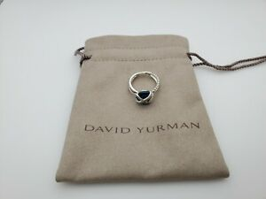 David Yurman Cable Wrap Ring with Blue Topaz and Diamond Size 7