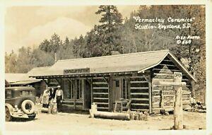 "1930s KEYSTONE SD""PERMACLAY CERAMICS""POTTERY STUDIO ROADSIDE RISE PHOTO POSTCARD"