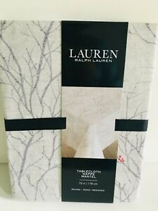 "Ralph Lauren Winter Nights Tree Branches Cotton Tablecloth 70"", 84"", 120"" U Pick"