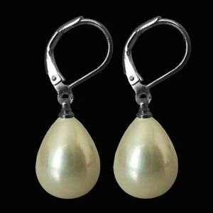 Handmade Multi-Color 12x16mm South Sea Shell Pearl Silver Gold Leverback Earring