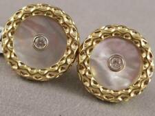 MODERN DIAMOND PINK MOTHER OF PEARL 14KT Y GOLD ROUND BUTTON CUFFLINKS U35056YP9