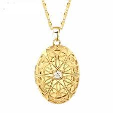 Damen Foto Medaillon Gold zum öffnen Halskette mit Kristall Strass Talisman Neu