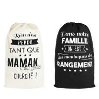 Sac à linge Design La vie en Famille 75 x48cm Grande taille 100% coton rangement