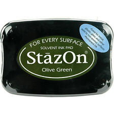StazOn Solvent Ink Pad Olive Green Sz-51 Tsukineko Sealed! Brand New!