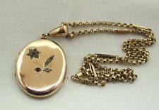 A  Lovely Antique Ruby & White Stone 9ct Gold on Silver Locket On Antique Chain