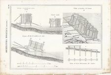 ARCHITETTURA IDRAULICA CASSONE INCISIONE STAMPA RAME 1866 TAVOLA ORIGINALE