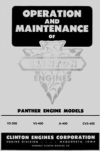 Clinton Engines Panther Models Operation Manual
