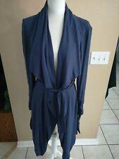 Thread + Supply Long Blue Flyaway Belted Cardigan Jacket Size Large