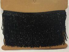 "1 Yard 6.5"" Black Glass BUGLE Bead Beaded Fringe Lamp Lampshade Costume Trim"