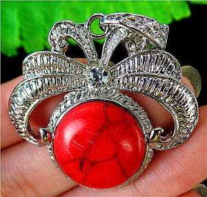 41x38x8mm Alloy Inlay Red Round Turquoise Pendant Bead BT85659