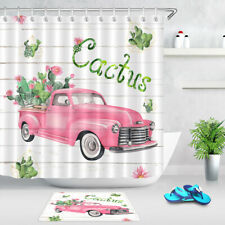 Pink Retro Truck Cactus Plants Wood Planks Shower Curtain Set Bathroom Decor 72""