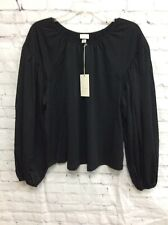 Womens Long Sleeve Pullover Elastic Top Blouse A New Day Black Large NWT