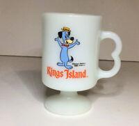 Kings Island Hanna Barbera Huckleberry Hound Footed Mug Cup 1982 Milk Glass Vtg