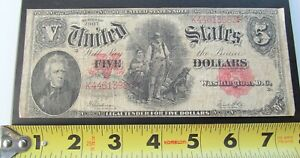 1907 US Five Dollar Bill~Red Seal Woodchopper Large Note Washington D. C.