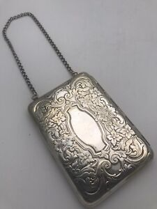 Antique Victorian Sterling Silver Case Change Purse Credit Card Pouch Mirror