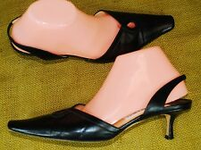 Jimmy Choo Dress Shoes Black Leather Sling Backs D'Orsay Pointed 41/US 11 *As Is