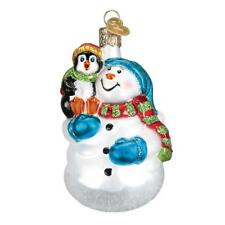 SNOWMAN W/ BABY PENGUIN PAL OLD WORLD CHRISTMAS GLASS ORNAMENT NWT 24181