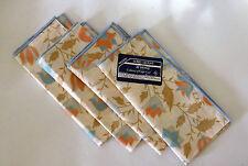 Set 4 Mary Quant at Home Cloth Napkins Designer Pastel Tulip Floral 100% Cotton