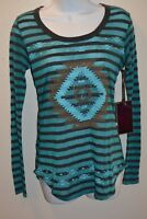 Rock & Roll Cowgirl XL T Shirt Juniors Teal & Chocolate Aztec Print Long Sleeve