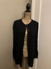 EILEEN FISHER Women's Black Rayon Button Down Cardigan Size L Large