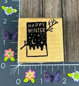 PSX Designs Rubber Stamp Happy Winter D377 Moon Snow Branch Trees #D158
