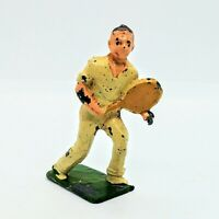 """Vintage Tennis Player Lead Figurine 1.5"""" Tall Painted Yellow Racket"""