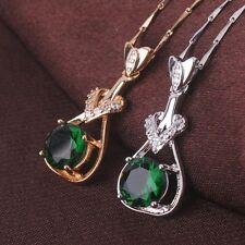 18K Gold/White Gold Filled Brilliant Emerald Charm crystal Pendant Necklace