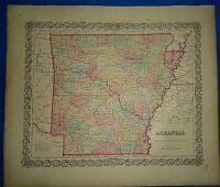 Vintage 1857 MAP ~ ARKANSAS ~ Old Antique Original Colton's Atlas Map