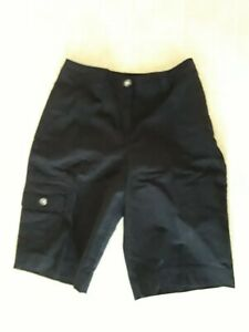 Studio Works Women's Black Bermuda Walking Shorts Sz 12 Cargo leg pockets Cotton