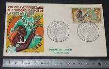 ENVELOPPE 1er JOUR PHILATELIE 1961 ANNIVERSAIRE INDEPENDANCE COTE D'IVOIRE