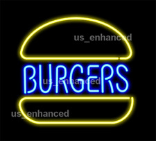"New Burgers Shop Open Real Glass Beer Bar Decor Neon Light Sign 24""x20"""