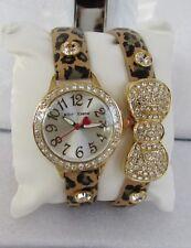 Betsey Johnson Leopard Bow Crystal Watch Bracelet Set BJ00536-39 NWT!