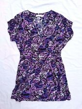 AS NEW Minkpink Size 12 Dress Purple Mini Batwing Shortsleeve Print Casual Event