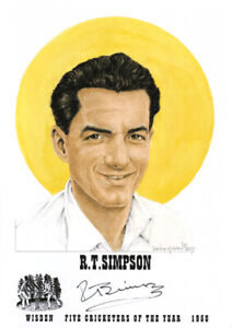 REG SIMPSON - Wisden Cricketer of the Year 1950 Print - GENUINELY AUTOGRAPHED
