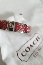 """Authentic COACH Bangle - Silver and Dark Pink Signature 1/2"""" Bracelet"""