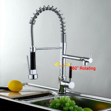 Modern Mono Pull Out Kitchen Mixer Tap Dual Spout Spray Single Lever Chrome
