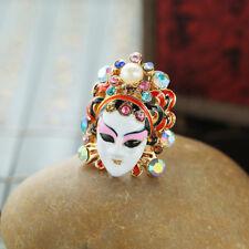 Fashion Women Peking Opera  Face Masks Ring Crystal ZC Pearl Jewelry Finger Ring
