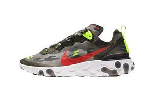 Nike React Element 87 Camo Medium Olive Bright Crimson Sneakers CJ4988 200