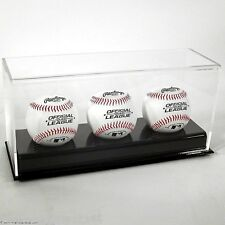 New Saf-T-Gard Deluxe Acrylic Triple 3 Baseballs Uv Display Case Ad24 New !