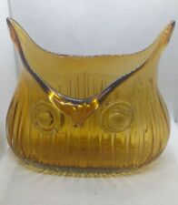 Vintage Style Owl Shaped  Amber Colored Glass Vase