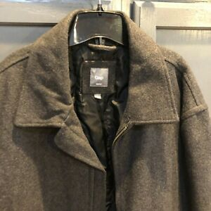 Gap Mens Wool Jacket Charcoal Gray Recycled Wool Full Zip Lined Size XXL